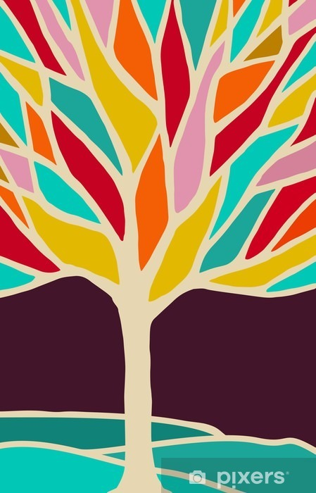 Abstract tree illustration with colorful branches Pixerstick Sticker - Plants and Flowers