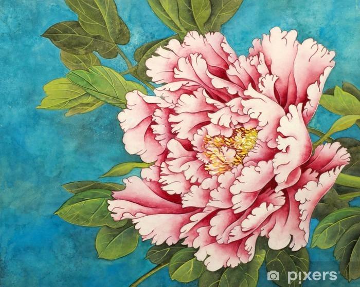 Naklejka Pixerstick Różowa piwonia na niebieskim tle - Rośliny i kwiaty