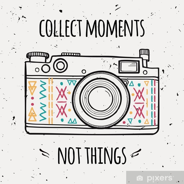 """Vector illustration with retro photo camera and typography phrase """"Collect moments not things"""". Vinyl Wall Mural - Travel"""