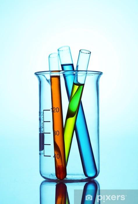 Aufkleber Reagenzgläser Mit Bunten Flüssigkeit Im Chemischen Labor Pixerstick