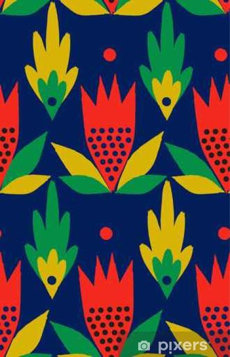 Pixerstick Sticker Sier, traditioneel, eenvoudig naadloze patroon met bloemen - Bloemen en Planten