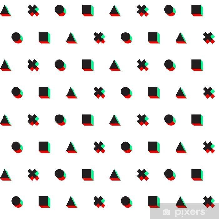 Vinilo para Mesa Lack Triángulo círculo cruz patrón de tela cuadrada de música digital 3D - Recursos gráficos