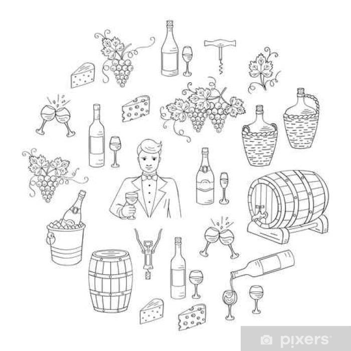Fototapeta Vino A Vinarstvi Set Vektorove Ilustrace Rucne Kreslenymi
