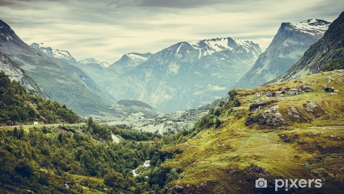 mountains landscape in Norway. Self-Adhesive Wall Mural - Landscapes