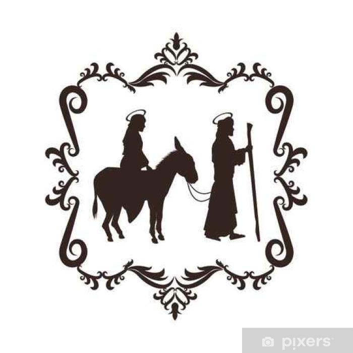 Weihnachten Schwarz Weiß Bilder.Fototapete Joseph Maria Heilige Familie Frohe Weihnachten Frame Symbol Schwarz Weiß Isoliert Design Vektor Illustration