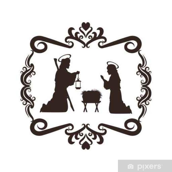 Weihnachten Schwarz Weiß Bilder.Aufkleber Joseph Mary Heilige Familie Frohe Weihnachten Frame Symbol Schwarz Weiß Isoliert Design Vektor Illustration Pixerstick
