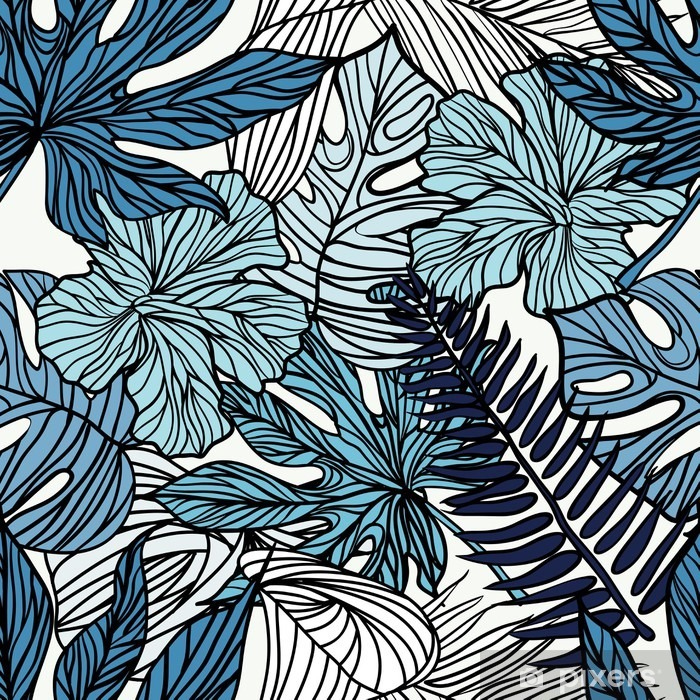 Adesivo Pixerstick Fiori esotici tropicali e piante con foglie verdi di palme. - Hobby e Tempo Libero