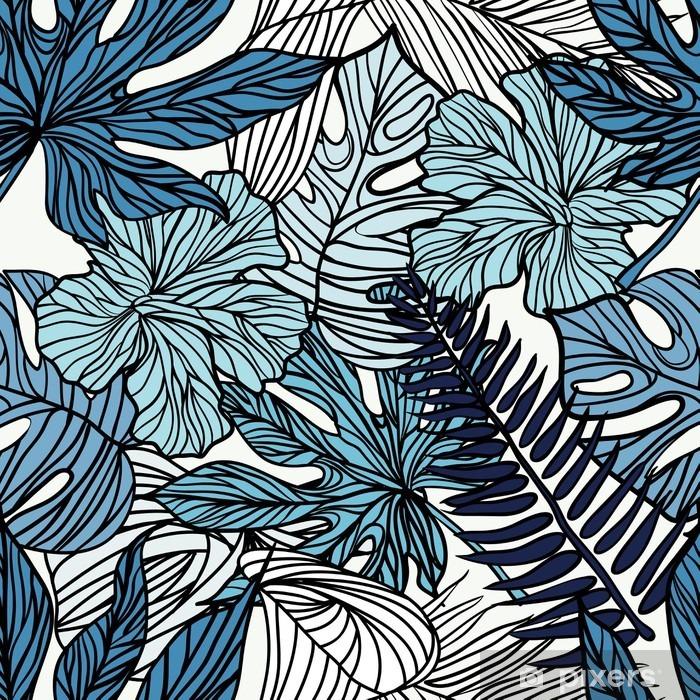 Masa Çıkartması Palmiye yeşil yaprakları ile tropik egzotik çiçekler ve bitkiler. - Hobi ve eğlence