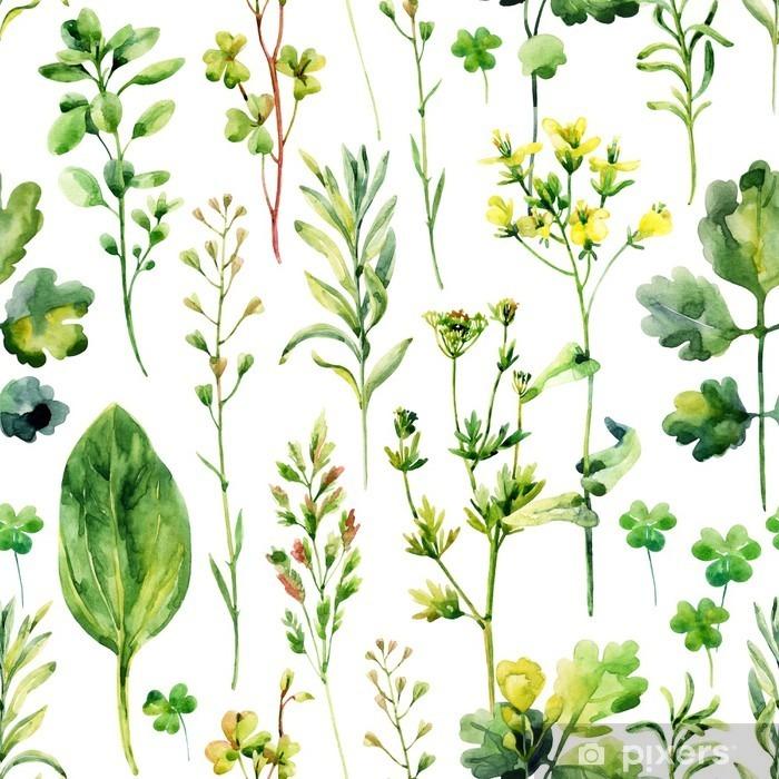 Carta da Parati in Vinile Erbacce prato acquerello ed erbe seamless pattern - Piante & Fiori