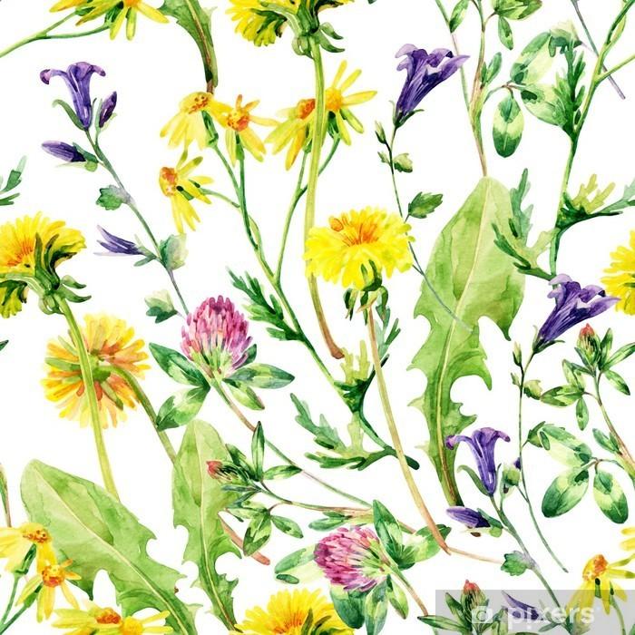 Sticker Pixerstick Aquarelle Meadow fleurs sauvages seamless pattern - Fleurs et plantes