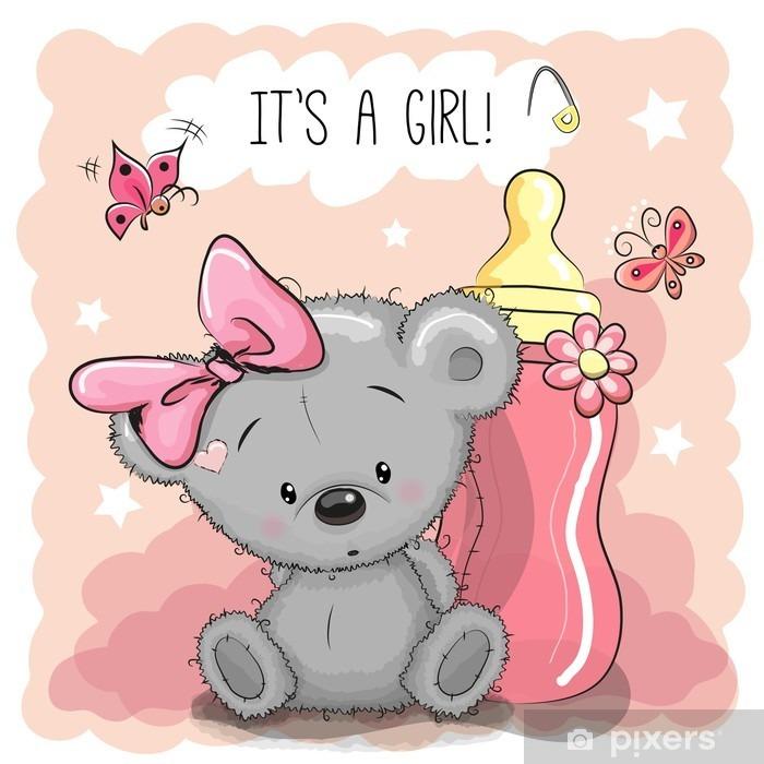 Poster Netter Karikatur-Bär Mädchen - Tiere