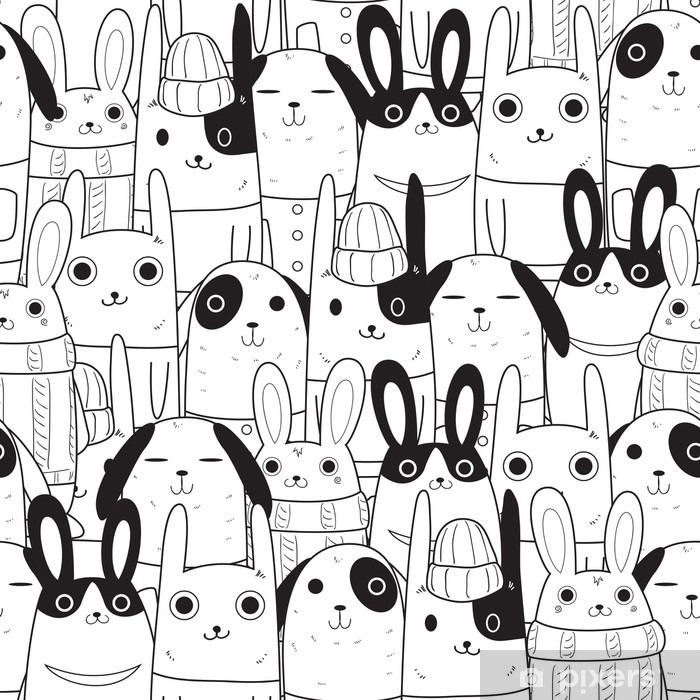 Vinyl-Fototapete Kaninchen nahtlose Muster - Tiere