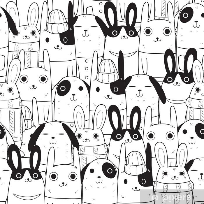 Vinilo Pixerstick Conejo patrón transparente - Animales