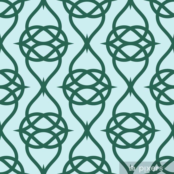 Fototapeta winylowa Geometryczne abstrakcyjny wzór na zielonym tle. Wektor bez szwu tekstury. - Zasoby graficzne