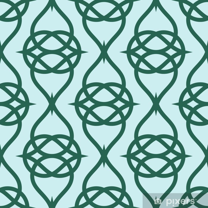 Naklejka Pixerstick Geometryczne abstrakcyjny wzór na zielonym tle. Wektor bez szwu tekstury. - Zasoby graficzne