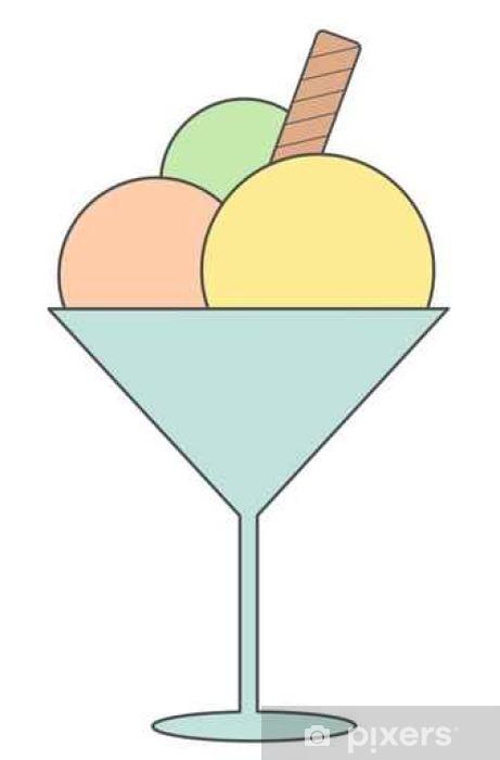 Papier peint vinyle Mignon glace cartoon crême illustration vectorielle isolé sur blanc background____ - Nourriture