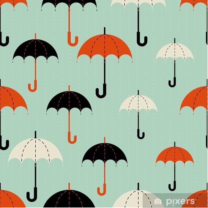 Fototapeta winylowa Bezszwowych tekstur. Jesień. Przedstawia parasole o różnej wielkości .Umbrella w trzech kolorach: czarnym, czerwonym i beżowym .Umbrellas w deszczu. Parasole na niebieskim tle. - Jesien