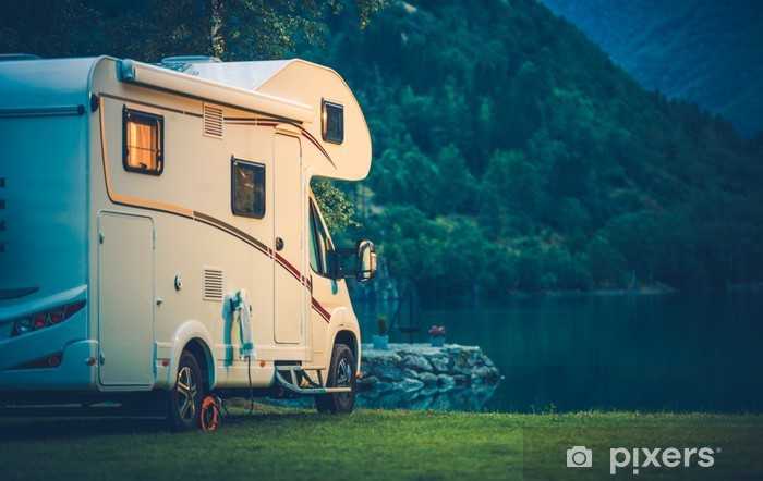 Camper Camping at the Lake Pixerstick Sticker - Relaxation