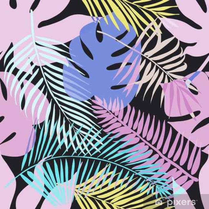 Buzdolabı Çıkartması Palmiye yeşil yaprakları ile tropik egzotik çiçekler ve bitkiler. - Hobi ve eğlence