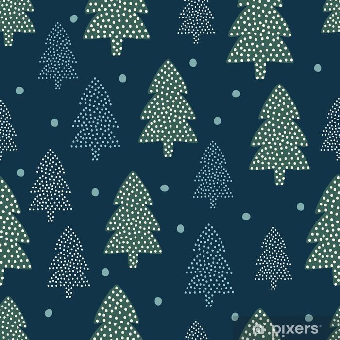 Naklejka Pixerstick Wzór Bożego Narodzenia - Xmas drzewa i śnieg. Happy New Year charakter bez szwu tła. Konstrukcja lasu do ferii zimowych. Vector zimowe wydrukować dla przemysłu włókienniczego, tapety, tkaniny, tapety. - Skandynawski