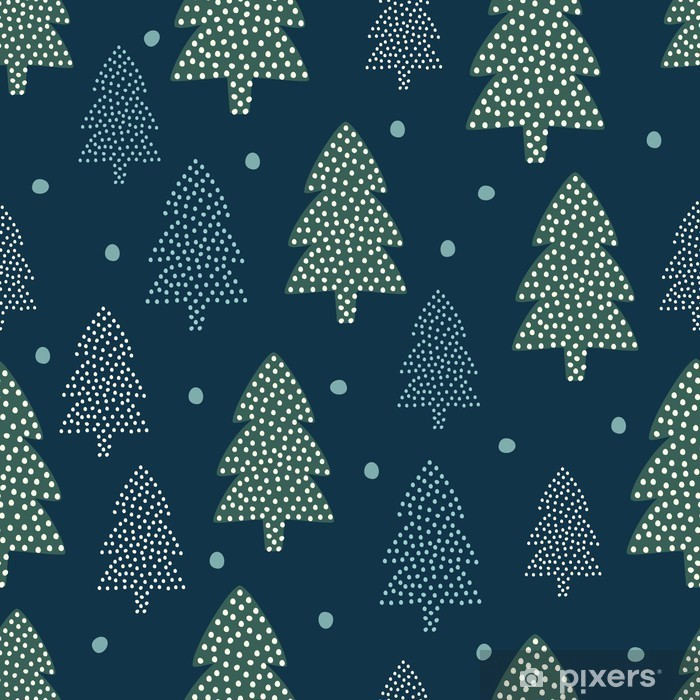 Nálepka Pixerstick Vánoční vzorek - Xmas stromy a sníh. Šťastný Nový Rok přírodě bezproblémové pozadí. Forest design pro zimní dovolenou. Vektorové zimní dovolenou tisk na textil, tapety, textilie, tapety. - Skandinávský