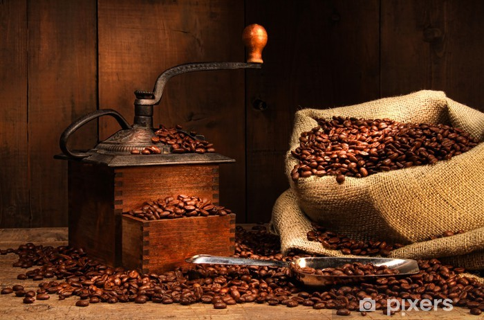 Antique coffee grinder with beans Vinyl Wall Mural - Themes
