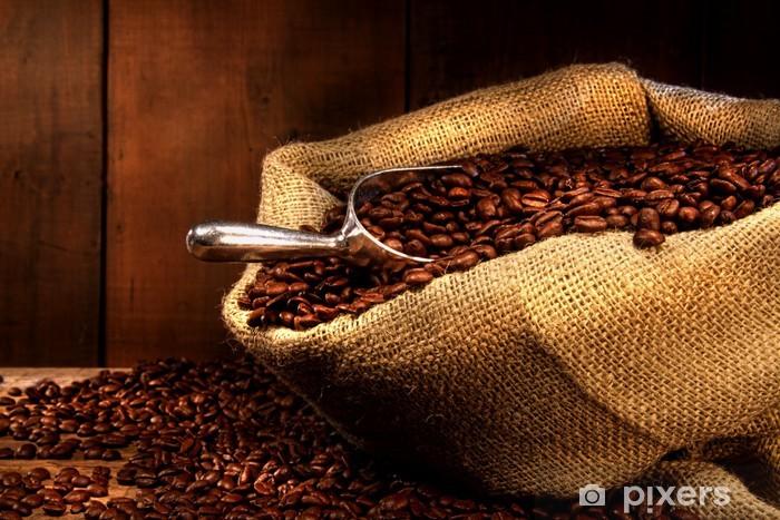 Carta da Parati in Vinile Chicchi di caffè in sacco di tela ruvida - Temi