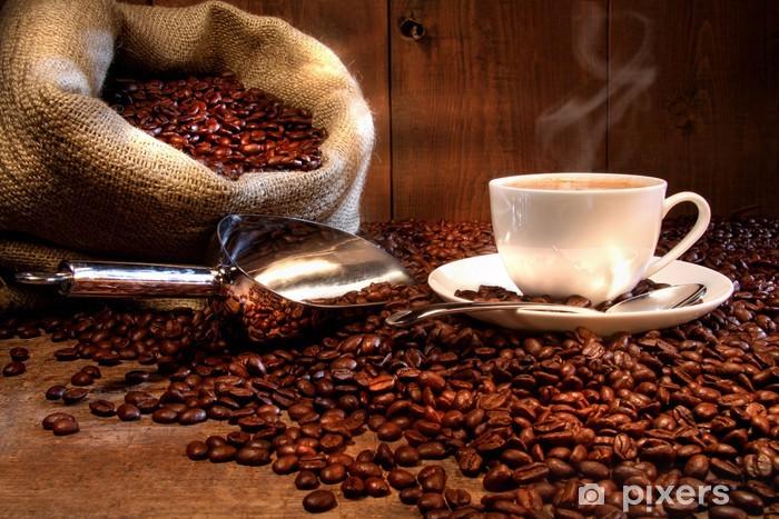 Naklejka Pixerstick Filiżanka kawy z konopie worek z palonych ziaren - Tematy