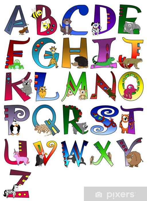 Sticker Pixerstick Affiche d'alphabet d'animaux à thème A - Z affiche - Thèmes