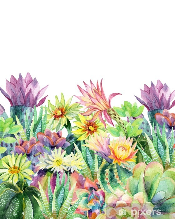 Deursticker Watercolor bloeiende cactus achtergrond - Bloemen en Planten