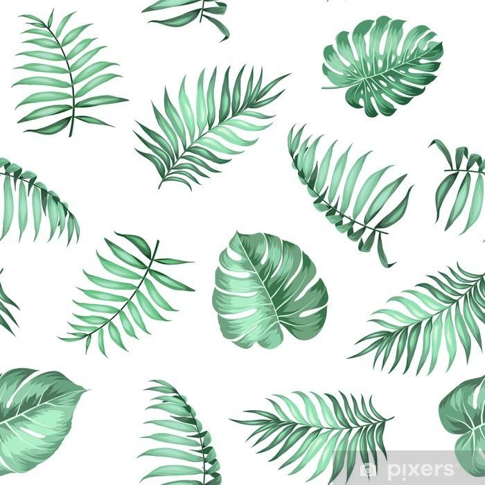 Vinyl Fotobehang Topical palmbladeren op naadloze patroon voor stof textuur. Vector illustratie. -