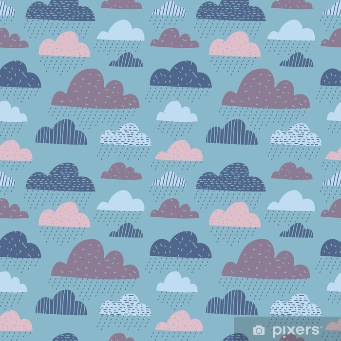 Cute funny clouds seamless pattern Fridge Sticker - Landscapes