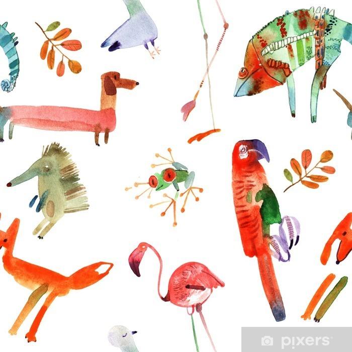 Vinyl-Fototapete Aquarell Tiere eingestellt - Tiere