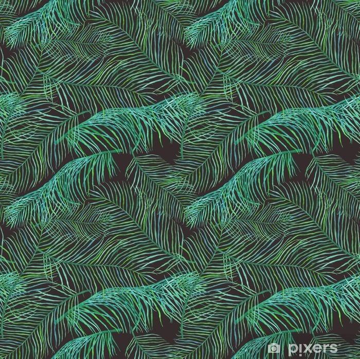 Fototapeta winylowa Akwarela liści palmowych saemless wzór na ciemnym tle. - Rośliny i kwiaty