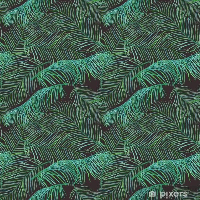 Watercolor palm leaves saemless pattern on dark background. Pixerstick Sticker - Plants and Flowers