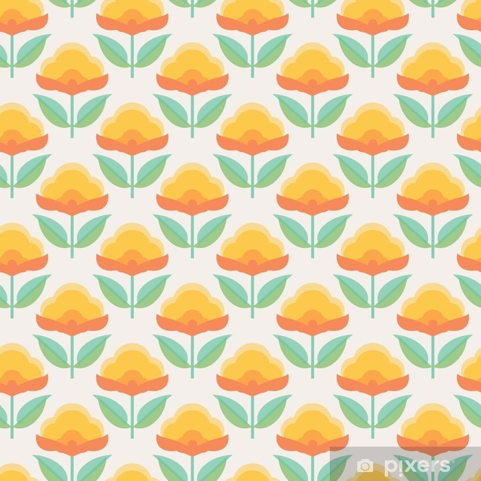 Carta da Parati Autoadesiva Seamless pattern floreale - Piante & Fiori