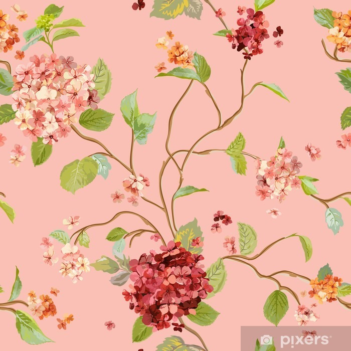 Vintage Flowers - Floral Hortensia Background - Seamless Pattern Washable Wall Mural - Plants and Flowers