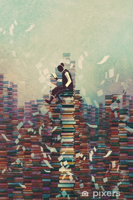 Vinyl Fotobehang Man het lezen van boek zittend op stapel boeken, kennis concept, illustratie painting - Hobby's en Vrije tijd