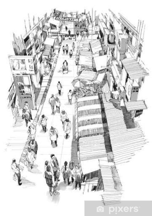Fototapeta Wyciągnąć Rękę Szkic Ludzi Spaceru W Ulicy Rynku