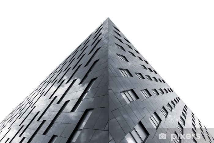 Vinilo Pixerstick Vista inferior del edificio de oficinas moderno aislado sobre fondo blanco - Construcciones y arquitectura
