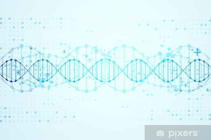 Science template, DNA molecules background. Pixerstick Sticker - Science