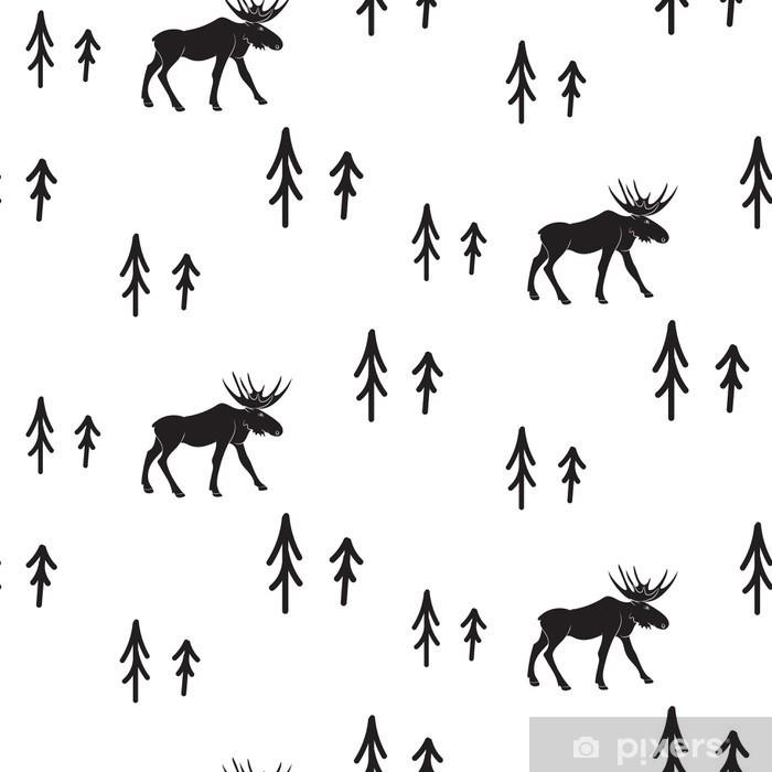 Fototapeta zmywalna Skandynawski styl proste czarno-białe jelenie szwu. Jelenie i sosny monochromatyczny sylwetka wzór. - Zasoby graficzne