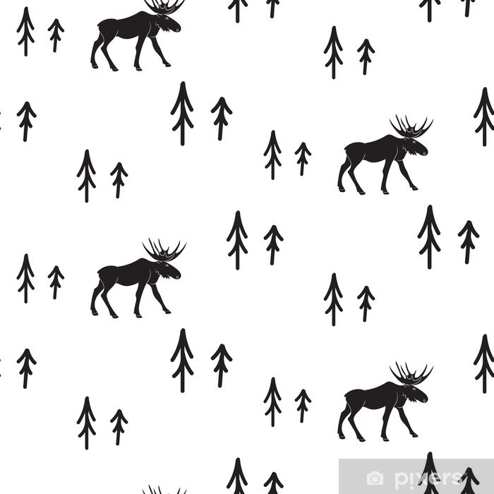 Naklejka Pixerstick Skandynawski styl proste czarno-białe jelenie szwu. Jelenie i sosny monochromatyczny sylwetka wzór. - Zasoby graficzne