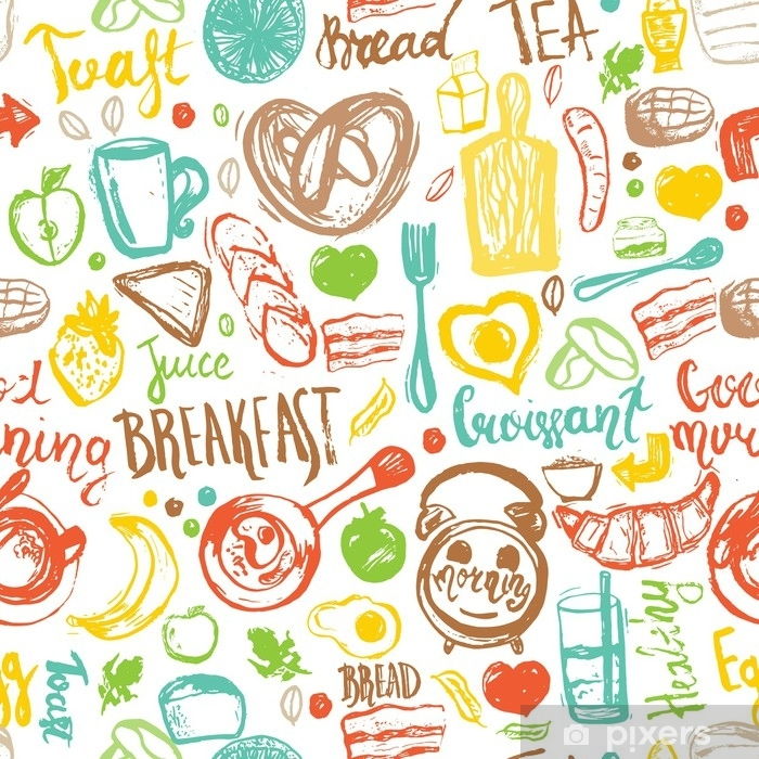 6f3e9884 Fototapet av vinyl Frokost sømløs mønster med brød, grøt, kaffe, egg og  lettering