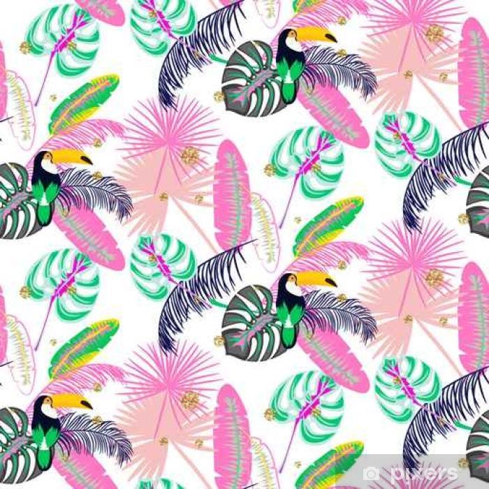 Pixerstick Sticker Monstera tropische roze bladeren van de planten en naadloze patroon toekanvogel. Exotische natuur patroon voor stof, behang of kleding. - Grafische Bronnen