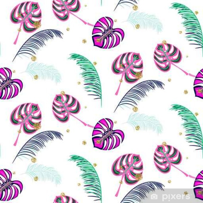 Monstera pink tropic plant leaves seamless pattern. Exotic nature pattern for fabric, wallpaper or apparel. Vinyl Wall Mural - Graphic Resources
