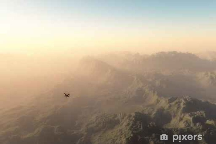 Vinilo Pixerstick Avión privado sobre las montañas brumosas en el amanecer - Paisajes