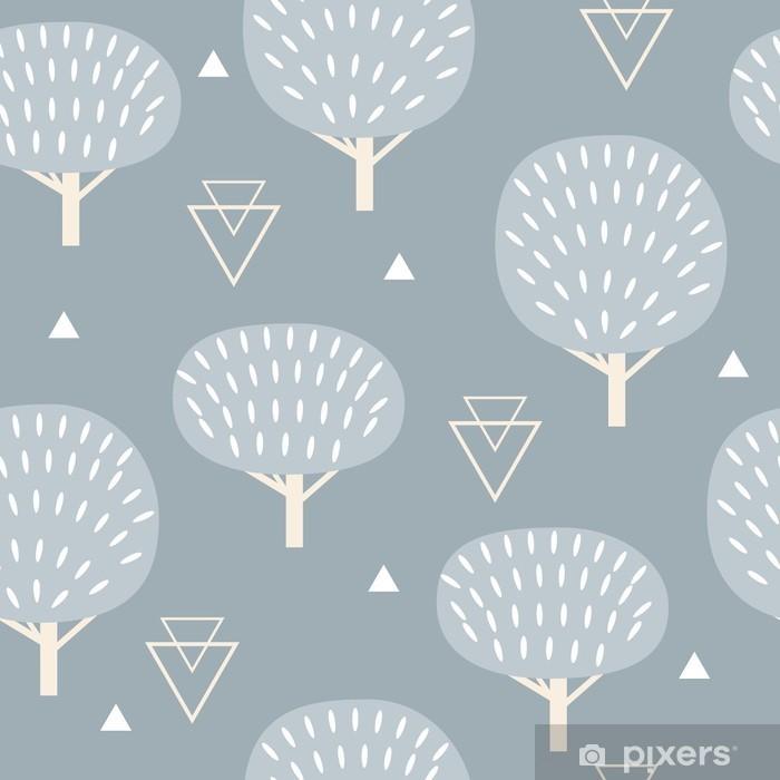 Pixerstick Sticker Naadloos patroon in moderne Scandinavische stijl. Vector geometrie achtergrond in het noorden van de natuur. -