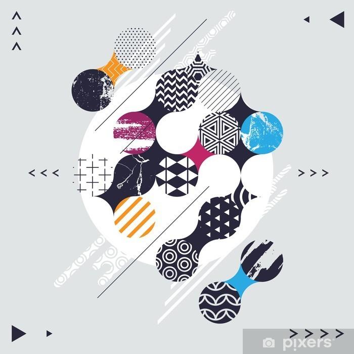 Nálepka Pixerstick Abstraktní geometrické kompozice s ozdobnými kruhy - Grafika
