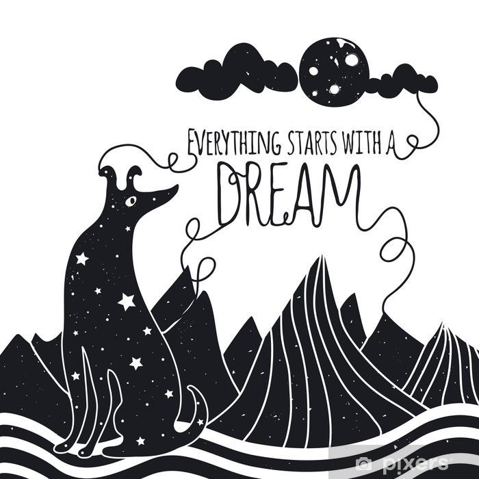 Zelfklevend Fotobehang Schattige romantische vector illustratie met hond kijkt naar de maan. Alles begint met een droom. Sterren, bergen en wolken. - Dieren